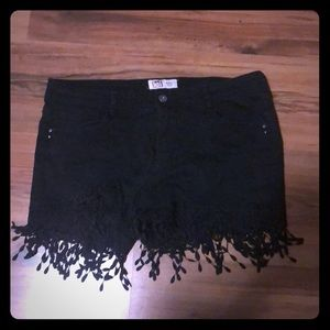 Lei Black Shorts with fringe bottoms. Size 13
